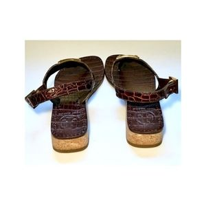 70da15f75ac904 Tory Burch Shoes - TORY BURCH BROWN LEATHER CROC T-STRAP THONG SANDAL